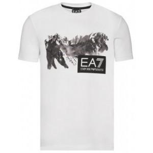 Majica s kratkimi rokavi Emporio Armani - bela s potiskom