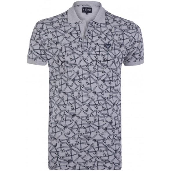 Polo majica ARMANI JEANS - siva s potiskom