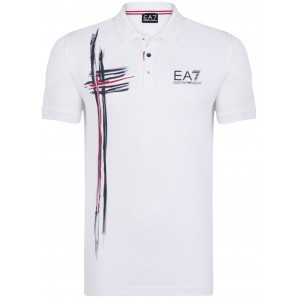 Polo majica EMPORIO ARMANI - bela s potiskom