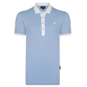 Polo majica EMPORIO ARMANI - svetlo modra