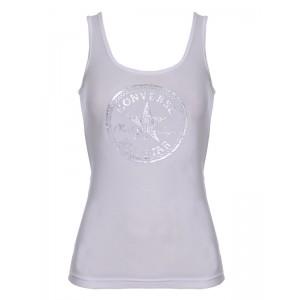 Majica brez rokavov Converse - bela s srebrnim potiskom