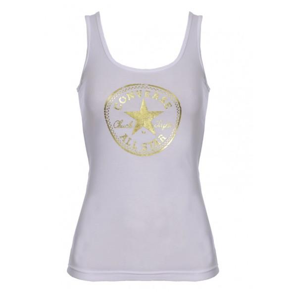 Majica brez rokavov Converse - bela z zlatim potiskom