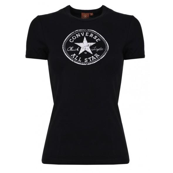 Majica s kratkimi rokavi Converse - črna z belim potiskom