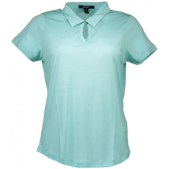 Polo majica Gant, en gumb - azurno modra
