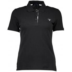 Polo majica Gant - črna, bel logo