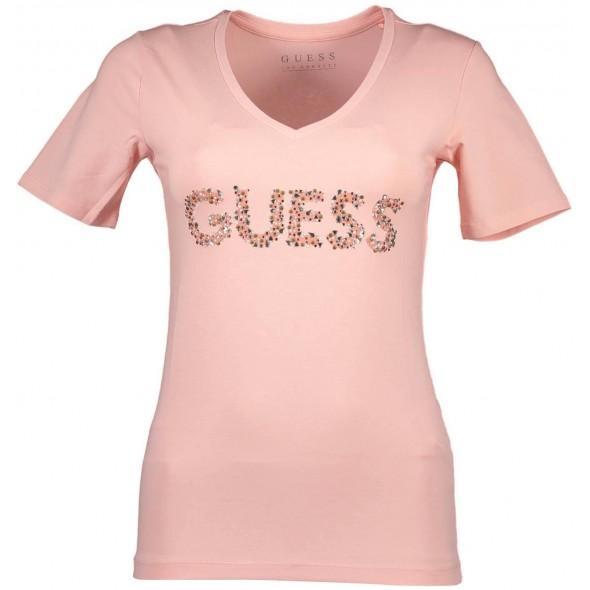 Majica s kratkimi rokavi Guess Jeans - roza logo