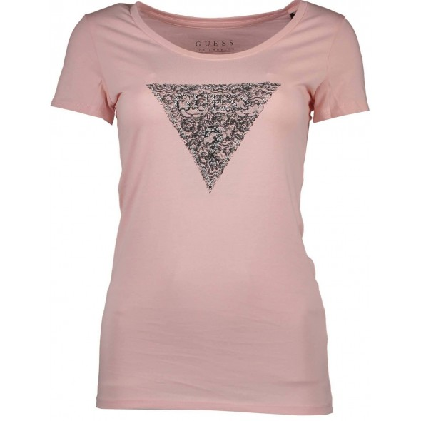 Majica s kratkimi rokavi Guess Jeans - roza čipka