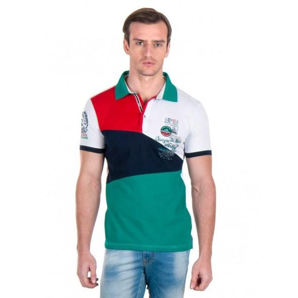 Polo majica Giorgio Di Mare - belo/zelena/rdeča