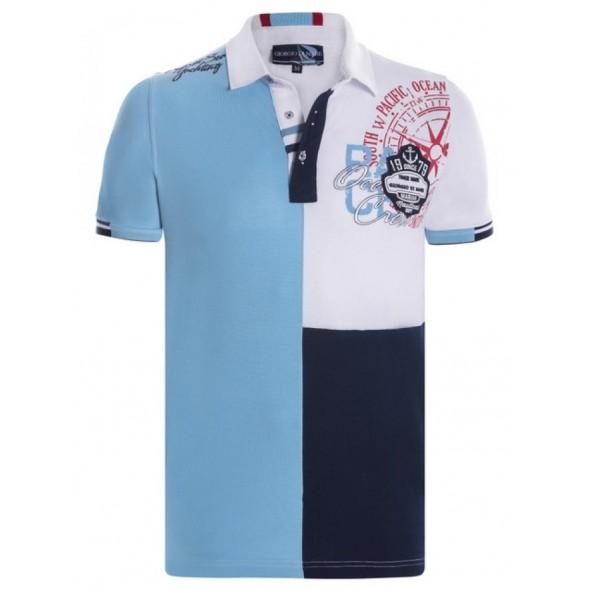 Polo majica Giorgio Di Mare - belo / turkizno / modra