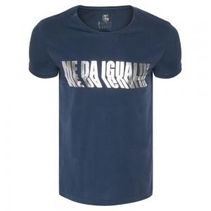 Majica s kratkimi rokavi Me Da Igual - modra