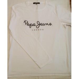Majica z dolgimi rokavi Pepe Jeans - bela 'Black&Grey stripe'