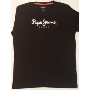 Majica z dolgimi rokavi Pepe Jeans - črna 'Orange London'