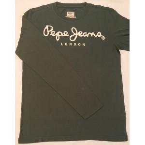 Majica z dolgimi rokavi Pepe Jeans - temno zelena 'London'