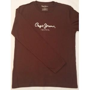 Majica z dolgimi rokavi Pepe Jeans - temno rjava 'London'