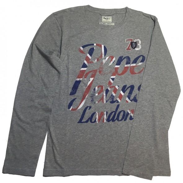 Majica z dolgimi rokavi Pepe Jeans - siva 'Flag'