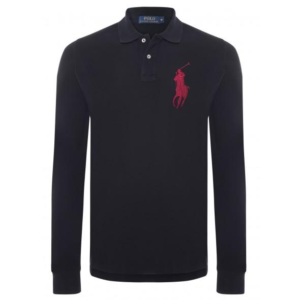 Polo majica z dolgimi rokavi Ralph Lauren - črna