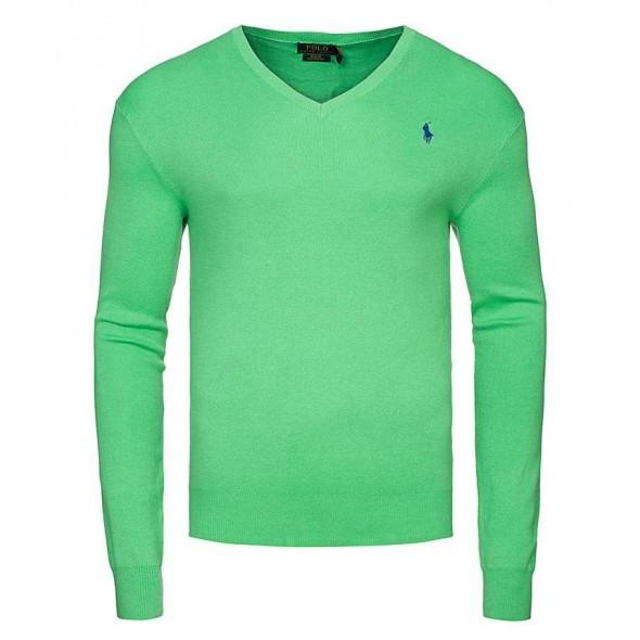 Pulover Ralph Lauren, V-izrez, svetlo zelen