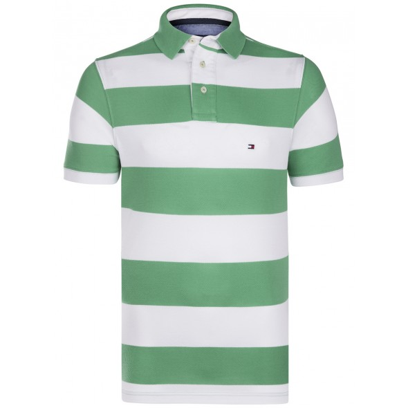 Polo majica Tommy Hilfiger - zeleno bela črtasta
