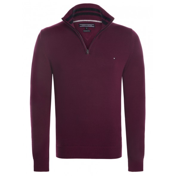 Pulover TOMMY HILFIGER, bordo rdeč