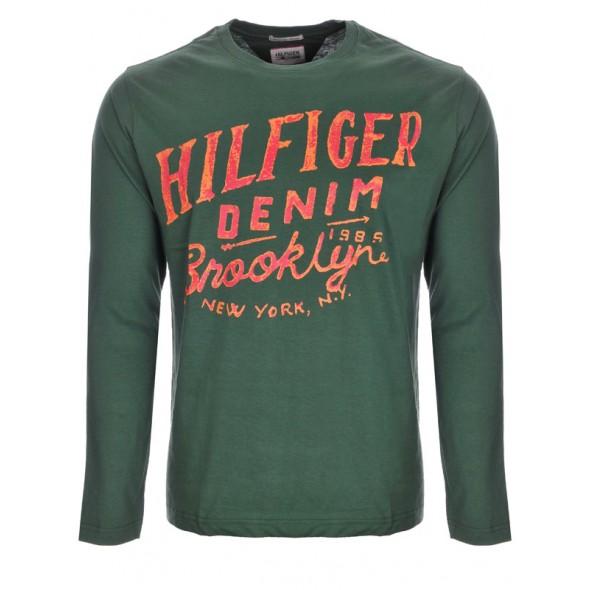 Majica z dolgimi rokavi Hilfiger Denim - temno zelena