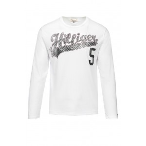Majica z dolgimi rokavi Hilfiger Denim - bela s potiskom