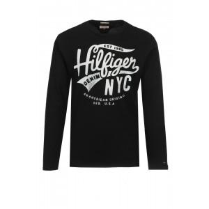Majica z dolgimi rokavi Hilfiger Denim - črna s potiskom