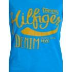 Majica s kratkimi rokavi Hilfiger Denim - modra s potiskom