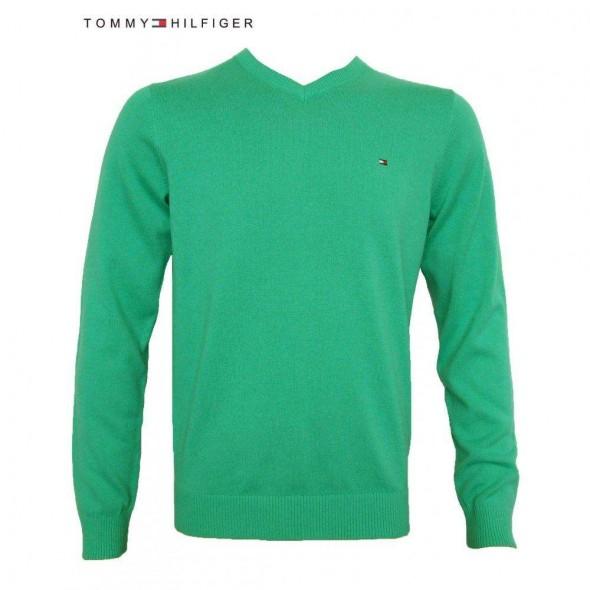 Pulover Tommy Hilfiger, V-izrez, zelen