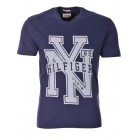 Majica s kratkimi rokavi Hilfiger Denim - temno modra s potiskom